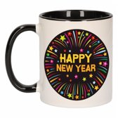 1x Happy New Year beker / mok - zwart / wit - 300 ml - Oud en Nieuw