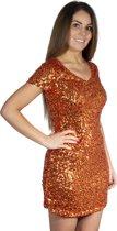 Pailletten jurkje oranje XL