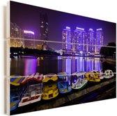 Bootjes voor de paarse gebouwen voor Wuhan Vurenhout met planken 90x60 cm - Foto print op Hout (Wanddecoratie)