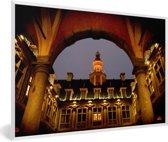 Foto in lijst - Franse architectuur op de gebouwen in Rijsel fotolijst wit 60x40 cm - Poster in lijst (Wanddecoratie woonkamer / slaapkamer)