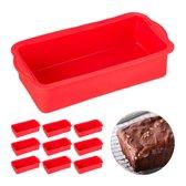 relaxdays 10x siliconen bakvorm - rechthoekig - cakevorm - taartvorm - broodvorm - rood