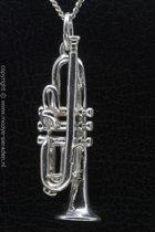 Zilveren Trompet XL ketting hanger