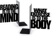 Balvi boekensteun Mind exercise zwart metaal set van 2