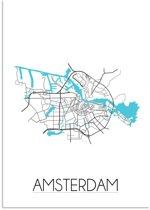 Plattegrond Amsterdam Stadskaart poster DesignClaud - Wit - A4 poster