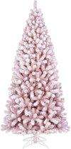 Black Box kunstkerstboom cembra maat in cm: 230 x 107 besneeuwd roze