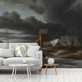 Fotobehang vinyl - Winterlandschap - Schilderij van Jacob van Ruisdael breedte 435 cm x hoogte 360 cm - Foto print op behang (in 7 formaten beschikbaar)