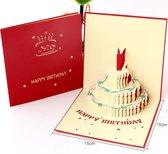 3D wenskaart Happy Birthday verjaardagstaart - verjaardagskaart - Pop-up kaart - Kaart verjaardag