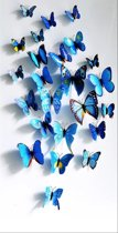 3D Vlinder Muursticker - Huis Decoratie - Blauw -12 stuks - 3D Butterfly Wall sticker - Home Decoration -  12 pieces