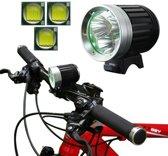 Fietslicht HeadLamp, 4-standen, 3x CREE XM-L T6 LED, Wit licht, Lichtstroom: 3800lm