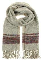 Sjaal zwart met beige-grijs met franjes