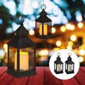 relaxdays 4 x led lantaarn - vlameffect - sfeerverlichting - windlicht – zwart