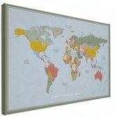 Wereldkaart op Canvas Historisch Vintage Muurdecoratie groot 120x80 cm | Wereldkaart Canvas Schilderij