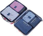 Packing Cubes Set - 6 Delig - Koffer Organizer - Inpak kubussen - Opbergzakken voor Koffer & Backpack - Navy Dots