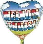 Folie ballon welkom thuis hart vorm 46 cm - Helium ballonnen