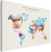 Wereldkaart - Spreuk - Kleur - Canvas - Muur 60x40 cm | Wereldkaart Canvas Schilderij