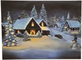 Canvas op houten frame - Besneeuwd dorp met sneeuwpop - led verlichting - Kerst