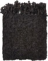 Dutch Decor Fedde - Plaid - Polyester - 130 x 180 cm - Zwart/subtiel glitter