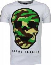 Local Fanatic Army Skull - Rhinestone T-shirt - Wit - Maten: M