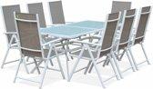 Tuintafel 8 stoelen van aluminium en textileen