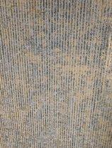 Behang glanzend strepen goud grijs