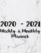 2020 - 2021 Weekly & Monthly Planner: Two Year Planner 2020 - 2021 - Calendar Schedule Organizer Agenda - Marble Cover