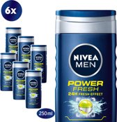 NIVEA MEN Power Refresh Douchegel - 6 x 250 ml - Voordeelverpakking