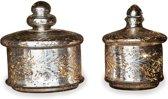 LOBERON Glazen potten set van 2 Elexa antiekzilverkleurig