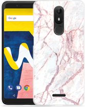 Wiko View Lite Hoesje White Pink Marble