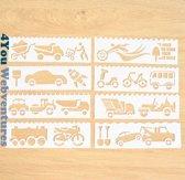 Bullet Journal Plastic Stencils - 8 stuks - Templates - Auto - Motor - Vervoersmiddelen - Trein - Sjablonen - 5,5 x 18,3cm - Handlettering toolkit - Knutselen - Decoratie - Accessoires - 4You Webventures