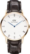 Daniel Wellington Dapper York DW00100085 - Horloge - Leer - Bruin - Ø 38mm