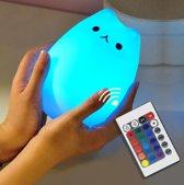 Oplaadbare kattenlamp met 8 kleuren licht - Kat nachtlampje met afstandsbediening - USB oplaadbaar