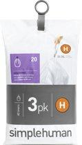 Simplehuman Afvalzak Code H - Voor Pocket Liners - 30 l - Set van 3 x 20 Stuks
