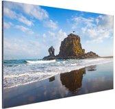 Rots met vuurtoren Nieuw-Zeeland foto Aluminium 180x120 cm - Foto print op Aluminium (metaal wanddecoratie) XXL / Groot formaat! / Zee en Strand
