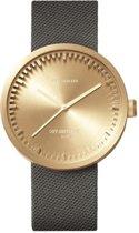LEFF amsterdam tube watch D42  LT72025 - Brass - Grey cordura strap - Cordura - Goud/Grijs - Ø 42mm