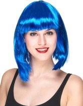 Half lange fluo blauwe pruik voor vrouwen - Verkleedpruik