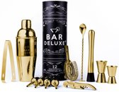 Cocktail Set van BarDeluxe® - 12-Delige Gouden Cocktailset - Cocktail Shaker Set (750ml) - Kleur: Goud - Inclusief Receptenboek
