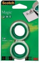 Scotch plakband Magic Tape formaat 19 mm x 7.5 m blister met 2 rolletjes