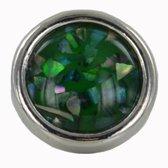 Quiges - Verzilverde Aanschuif Charm Bedel Kunstparel Groen voor Quiges Wikkelarmbanden - EHC205