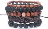 Joboly Stoere hippe leren mannen heren armband set - Heren - Bruin - 22 cm