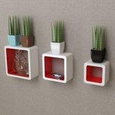 Wandplanken kubus MDF zwevend voor boeken/dvd 3 st wit-rood (incl. Fotolijst)