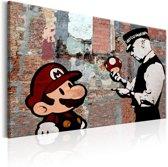 Schilderij - Mario en Politieagent op rode muur , Banksy , steenlook