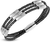 Amanto Armband Felker C - Heren - Leer - 316L Staal - Zwart - Magnetisch - 9 mm - 22 cm