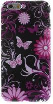 iPhone 6 silicone gel hoesje vlinder zwart roze