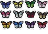 Strijk embleem 'Vlinders klein patch set (12)' – stof & strijk applicatie