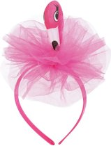 Flamingo diadeem roze haarband met tule - flamingohaarband tropical