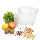 Mesh Zeefzak - Notenmelkzak - Ideaal voor Plantaardige Melk, Sappen, Kiemen & Yoghurt - Kaasdoek - Anti-Schimmel &  Herbruikbaar - U-vorm - MEDIUM (25 x 30 cm)