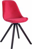 Clp Troyes - Eetkamerstoel - Fluweel - Rood kleur onderstel : walnoot (eik)