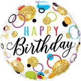 Folieballon 'Happy Birthday' Glitter - 46 centimeter