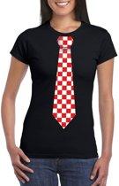 Zwart t-shirt met geblokte Brabant stropdas voor dames XL