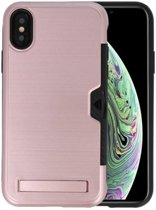 Roze Tough Armor Kaarthouder Stand Hoesje iPhone X / XS